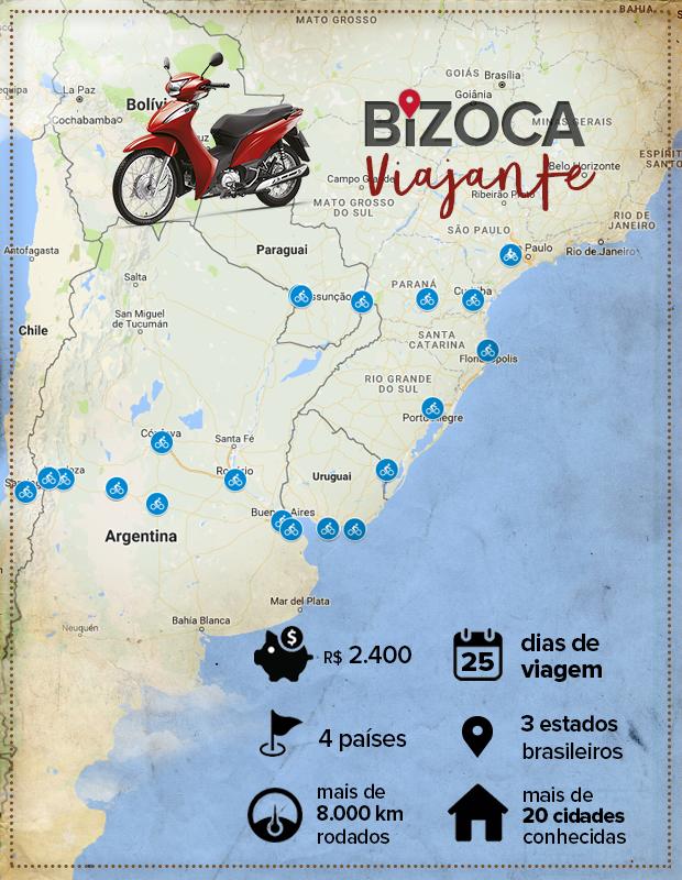 Rebeca saiu do interior de SP e percorreu 8 mil km pela América do Sul (Arte: Eduardo Teixeira/G1)